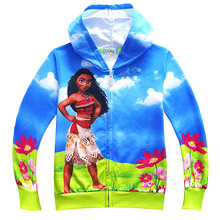 New style kids jackets for girls princesse vaiana and Maui pig surfing on ocean kids Christmas party clothes girl Autumn coats(China)