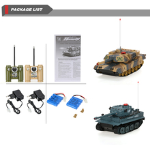 2Pcs HUAN QI 508-10 1/32 USA M1A2 and German Tiger 1 H1  Infrared Fighting RC Battle Tank with Sound and Lights RC Tank BoysToys