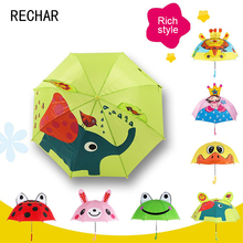 2017 New Arrival Top Fashion Pongee Non-automatic Sliding One Size Rain Transparent For Creative Cartoon Animal Children(China)