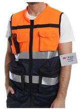 Reflective Safety Vest High Visibility Safety Vest Orange and Dark Blue Hi Vis Vests Surveyor Muti-function Vest orange 1pcs(China)