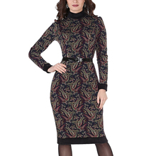 Time-limited Sheath Dress New Sexy Club Bodycon Print Pattern Dress Women Autumn Elegant Party Long Sleeve Vestidos 053-2