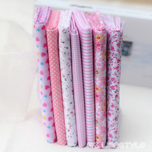 Buulqo 25*25cm  100% Cotton 7 Assorted Pink Pre Cut Charm  Squares Quilt Fabric