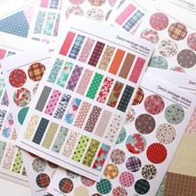 JETTING New Wholesale PC Mobile Phone Stickers Decor Laptop Skin 6 Pcs/lot Floral Plaid Print Stickers