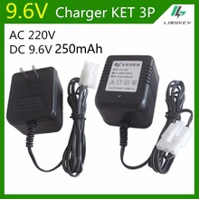 9.6V 250 mAh 3 Pin Charger For NiCd and NiMH battery pack charger For toy RC car AC 220V DC 9.6v 250mA KET 3P Plug
