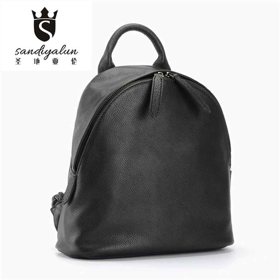 2016 New Soft Genuine Leather Woman Backpack Fashion Black Backpacks With Knitting Strap Concise School Bags For Teenager Girls<br><br>Aliexpress
