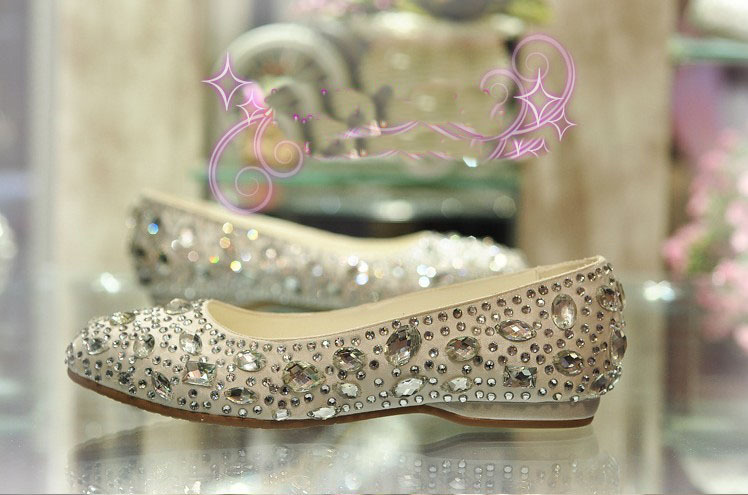 2016 Gorgeous Flat Heel Dancing Shoes Wedding Dress Shoes Bridal Shoes Rhinestone Formal Shoes Party Banquet Evening Shoes<br><br>Aliexpress