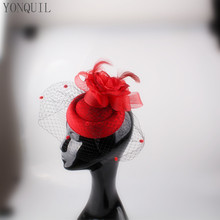 Red Fascinator base for Women Veil Flower Feather netting Hat for Bridal Hair accessories Cocktail Party headwear millinery