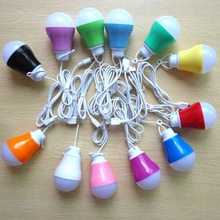New Trendy Hot Selling Colorful PVC Environmental 5V 5W USB Bulb Light portable Lamp for hiking camping travel(China)