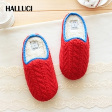 HALLUCI Winter Knitting women home slippers shoes indoor soft office shoes for women babouche floor Slippers pantufa terlik(China)