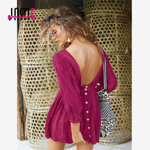 Jastie Boho O-Neck Mini Dress Sexy Open Back Button Closures Women Dresses 3/4 Sleeves Endless Summer Dress Beach Vestidos