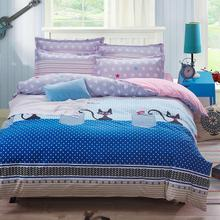Black cat home 4 Pcs Bedding Sets Duvet Cover flat sheet pillow case Bed Sets Lattice Style Very Soft King Queen full