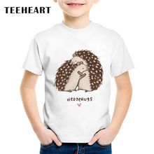 TEEHEART Summer Boys/girls's Modal T-shirt Hedgehog Hug Printing Harajuku Animal T shirt O-Neck T Shirt Funny Children Tee TA743