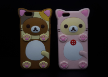 "Cute 3D Cartoon Rilakkuma Bear Soft Silicone Case for iPhone 5/5S/SE/6/7/6s/6 plus 4.7/5.5"" Rubber Skin Cover shell Phone cases(China)"