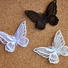 Clothes accessories fabric stereo double layer organza butterfly fabric appliqued(China)