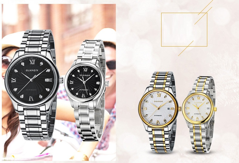 GUANQIN Luxury Lovers Watch Top Brand Women Men Watches Waterproof Sapphire Crystal 316L Stainless Steel Couple Watches 2 Pieces (12)