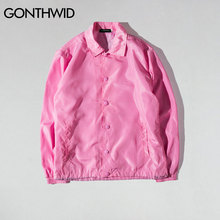 GONTHWID Mens Coaches Jackets Hip Hop Solid Color Vintage Thin Coats Jacket Male Fashion Casual Windbreaker Streetwear 9 Colors