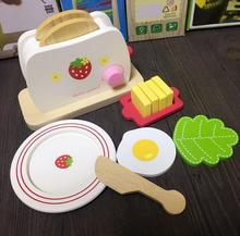 WXFTDMULIUFENG Cute Kids Baby Breakfast Pretend Role Play Wooden Kitchen Toaster Toys Child with Milk /Bread/ Butter Gifts(China)