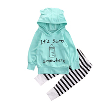 2Pcs/Set Baby Clothes Set Boy&Girl 100%Cotton Hoodie Tops T-shirt+Casual Striped Pants Clothing Set For 0-2 Year Old Infant Baby(China)