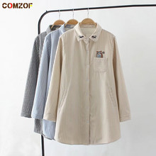 High quality women striped shirt cotton thick fleece blouse embroidery shirts womens 2017 autumn winter blusas plus size 4xl(China)