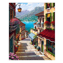 Practical Oil paint painting by numbers diy picture drawing coloring on canvas painting by hand wall paint by number landscape