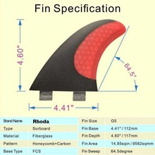 Carbon/fiberglass surfboard FCS G5 fin with carbon fiber stealth / carbon fin