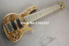 Hot sale 24 frets 6 strings natural wood color electric bass guitar with gold hardware,active circuit,can be changed as request