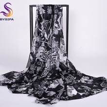 [BYSIFA] Winter Black Pure Silk Scarf Shawl Women Fashion Accessories Ladies Scarves Wraps 200*100cm 100% Mulberry Silk Scarf