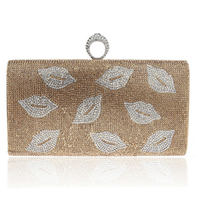 New Arrival One Side Women Evening Bags Finger Rings Diamonds Purse Evening Bag Silver/Gold/Black Lip Design Clutches