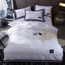 Simple Cotton Applique Embroidery Solid Bedding Set Bed Linen Hotel Pure Color Comforter Bed Sets Duvet Cover+Sheet+Pillowcase