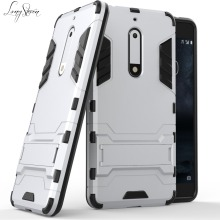 [Long Steven]For Nokia 5 Case Armor 2 in 1 Full Protective Kickstand Anti-Knock TPU Cover For Nokia5 Case Funda Capa Para