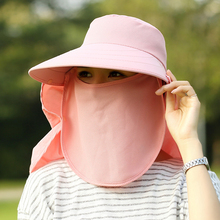 Sun Hats Women Summer Fashion UV Protection Face Neck Flap Cap Men Outdoor Sunbonnet Full Mask Bucket Hat Wide Brim Solid WS536