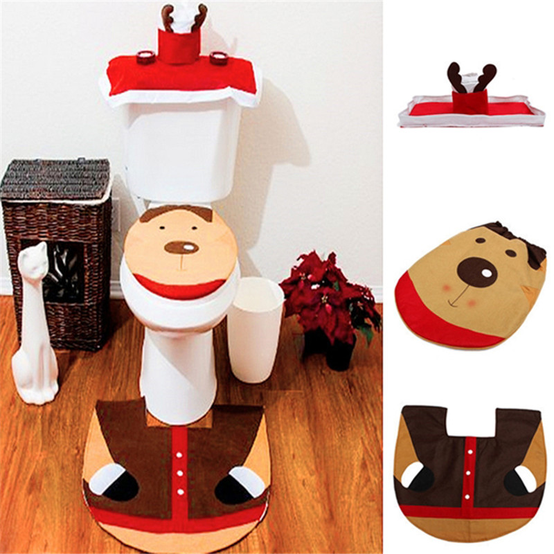 3Pcs Set Christmas Decorations Toilet Case Happy Santa Seat Cover Rug Mat Bathroom
