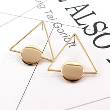 Large Hollow metal Big Triangle Stud Earrings For Women Korean Trendy Brand Simple Bright Brick Earrings Minimalism Club Jewelry(China)