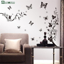 Black Butterfly Flower Rattan Diy Removable Wall Stickers Living Room Tv/sofa Background Wall Stickers Mural Decal(China)