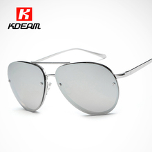 Kdeam Rimless Rose Gold Sunglasses Women Aviate Goggles Big Mirror Sunglass Female Silver UV400 Glasses With Package CE