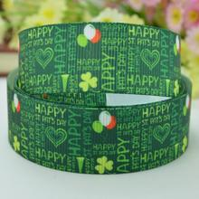 "Saint Patrick's day four-leaf clover fabric with a ribbed with DIY bow materials 22mm print grosgrain ribbon 7/8"" roll polyeste(China)"
