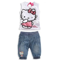 2014 New Girls Clothing Sets Hello kitty t shirt +pants 2pcs suits Casual jeans suit baby casual kids clothes sets girls clothes