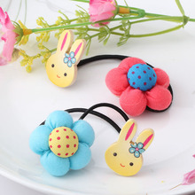 C Pumpkin Flowers Children Hair Ties Accessory Baby Girls Hair Accessories Elastic Rubber Bands Rabbit Barrettes Girl's Headwear(China)
