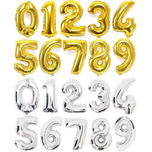 32 inch Gold Silver Number Foil Balloons Digit Party Balloons Birthday Decoration Wedding Balloons Helium Balon Happy Baby Child(China)