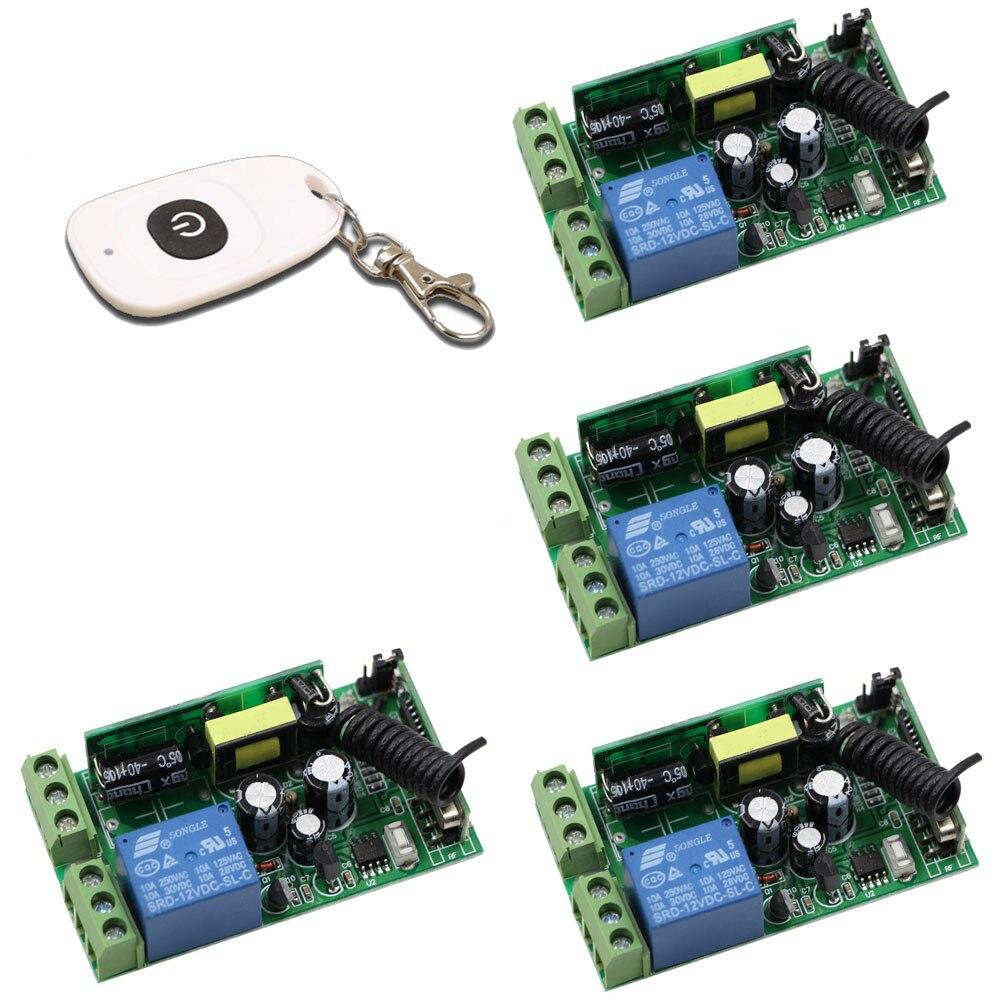 Latest AC85V-250V 85V 110V 220V 250V 1 Channel RF Wireless Remote Control Switch System 4*Receivers +Transmitter 315 433.92 MHZ<br>