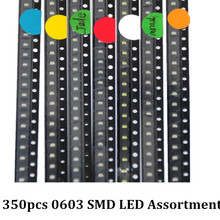 350pcs SMD LEDs Diode 0603 Assorted Diod LED Light Emitting 0603 Diodes RED Orange Jade-green White Green Blue Yellow 50pcs Each