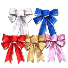 8 Colors Large Red Silver Gold Christmas Ribbon Bow Christmas Tree Decoration Handmade De Natal Grandes Christmas Ornament(China)