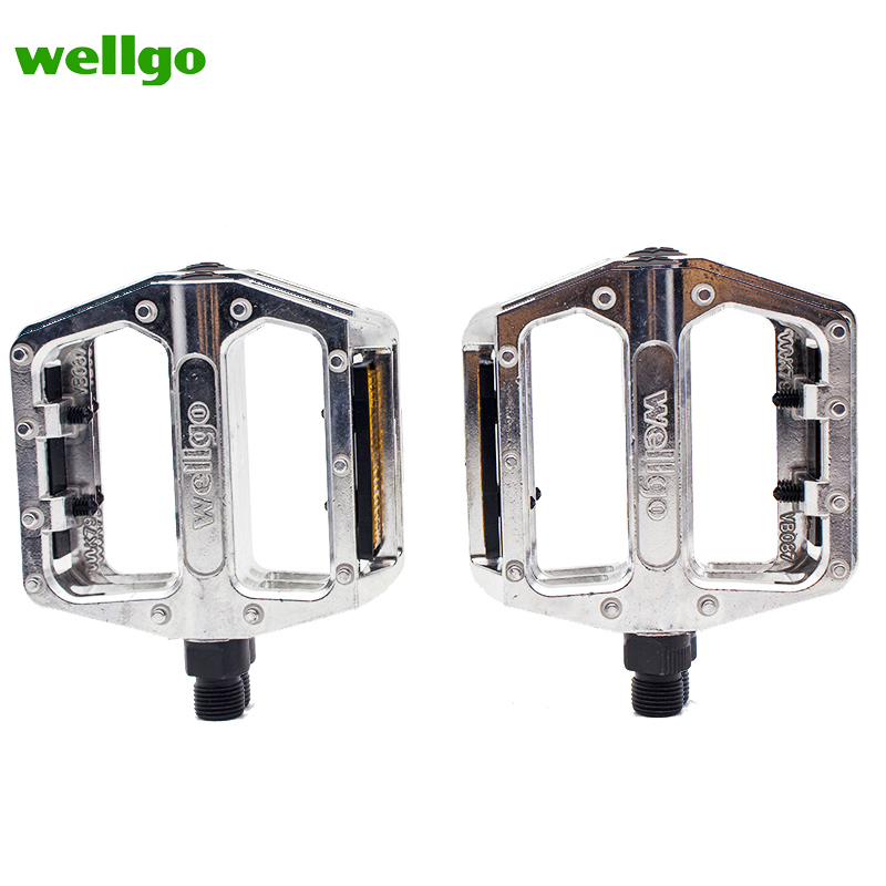"WELLGO B087 SILVER 9//16/"" 3-PIECE CRANK BMX BICYCLE PEDALS"