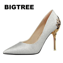 2017 Fashion Women Pumps Sexy gold High Heels Metallic Wing Heels Women Sandals Summer Shoes Slip-on Clear Shoes Chaussure