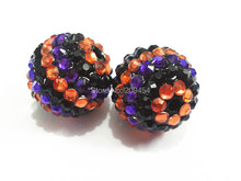 20mm 100pcs/lot Orange/Purple/Black Halloween Striped Resin Rhinestone Ball Beads,Chunky Beads For Kids Jewelry Making(China)