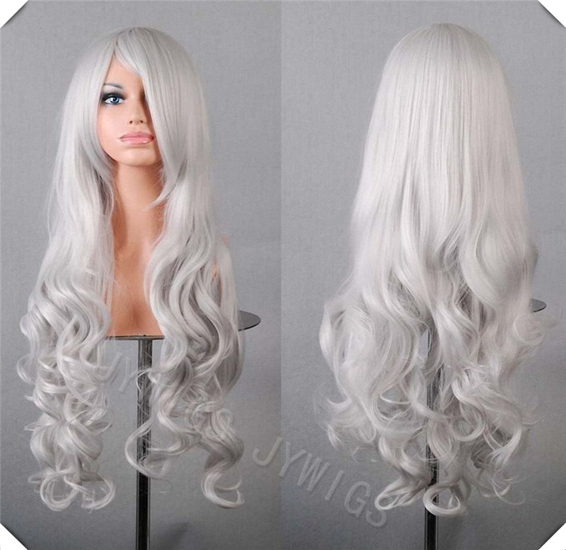 White 80CM 15COLORS 32Inches  Long Curly  Cosplay Wigs Lady Wavy Wigs Prompt Deliver<br><br>Aliexpress