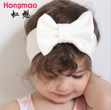 Baby Bowknot Headband Knitted Cotton Children Girls elastic hair bands Turban for girl Headbands Summer bandeau bebe(China)