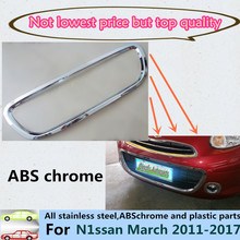 For Nissan March 2011-2017 car body styling protect detector ABS chrome trim Front up racing Grid Grill Grille Around part 1pcs