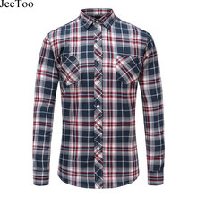 JeeToo Autumn Arrival Men Plaid Shirts Long Sleeve Flannel Mens Shirt Casual Checked Male Brand Clothing Plus Size 5XL Men Shirt(China)