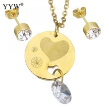 Crystal Jewelry Sets earring & pendant necklace Stainless Steel Heart Dangle Round gold color chain woman rhinestone Sold By Set